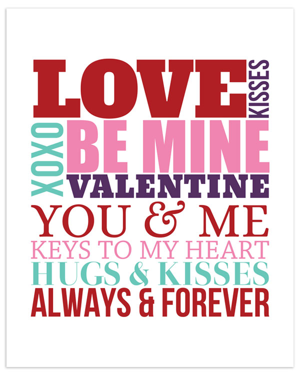 Free valentine's day subway art printable