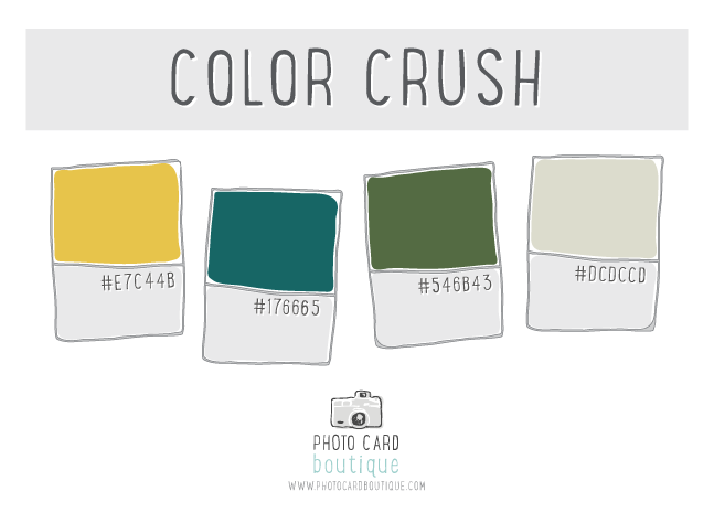 Marigold yellow, teal, green and tan color palette