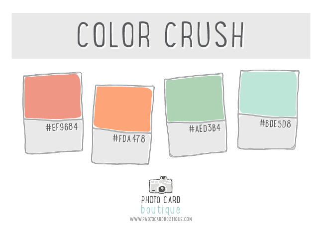 Peach, mint and robin egg blue color palette
