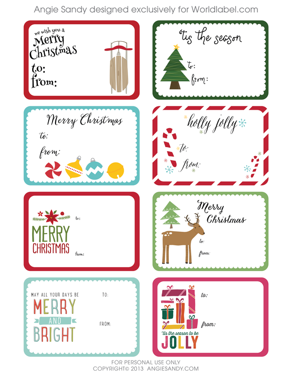World Label Exclusive Christmas Gift Tag Printable — Angie Sandy Art ...