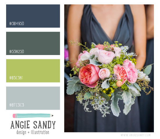 Dusty Blue, Green and Citron Color Palette | Angie Sandy #colorscheme