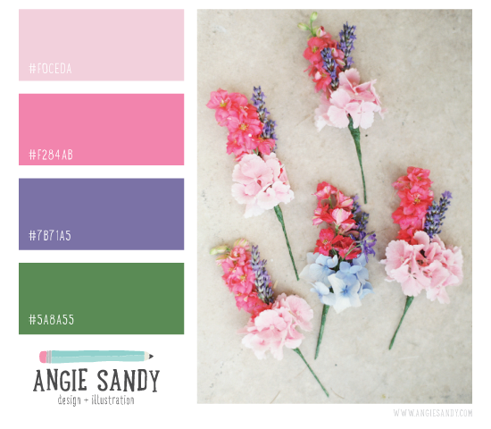 Pink, Purple + Green Color Palette | Angie Sandy Design + Illustration #color #colorpalette