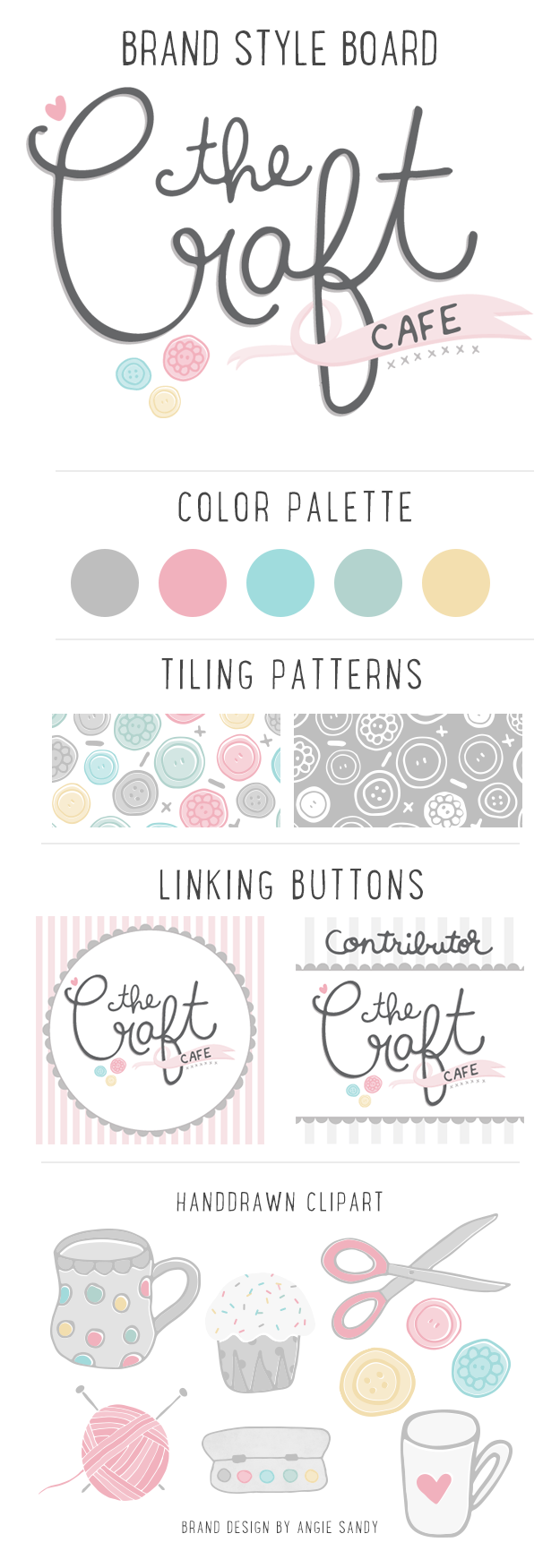 The Craft Cafe Brand | Angie Sandy Art Licensing & Design #branding #angiesandy #handlettering