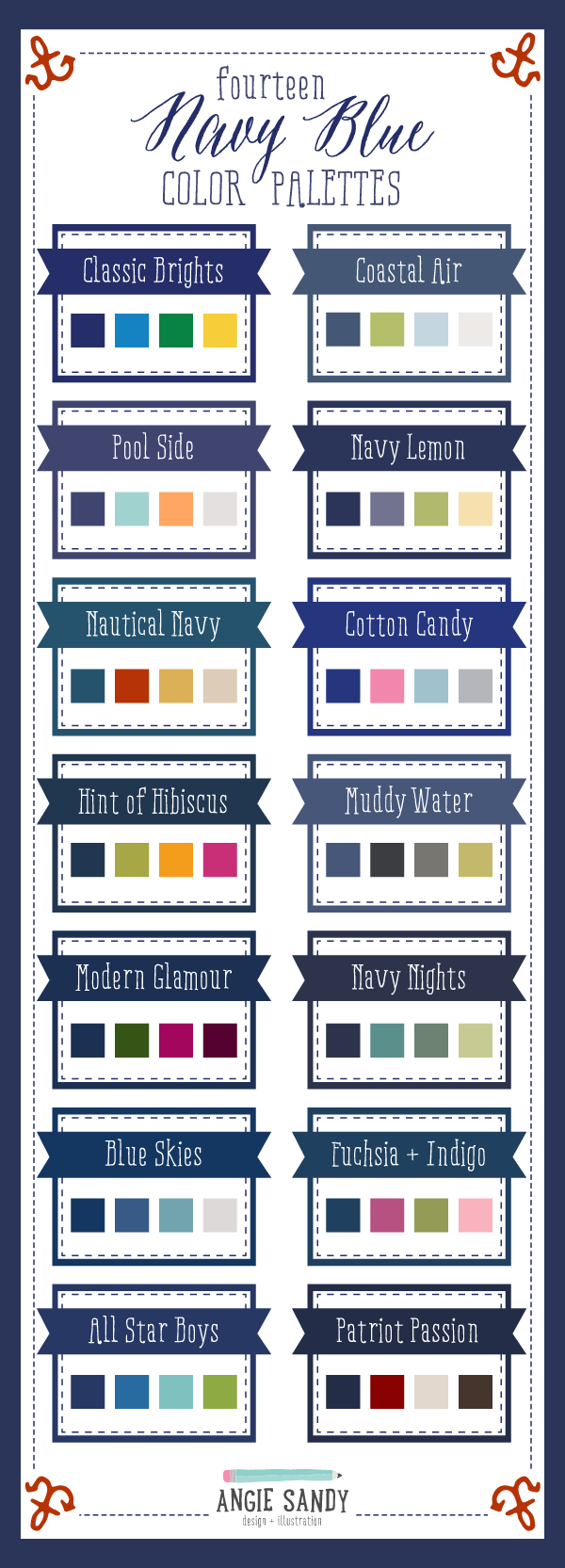 14 Navy Blue Color Palettes | Angie Sandy Art Licensing & Design #angiesandy #colorpalettes #colorcrush #navy
