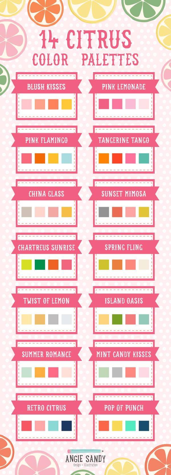 14 Citrus Color Palettes   Angie Sandy Art Licensing & Design #angiesandy #colorpalette #citrus #color