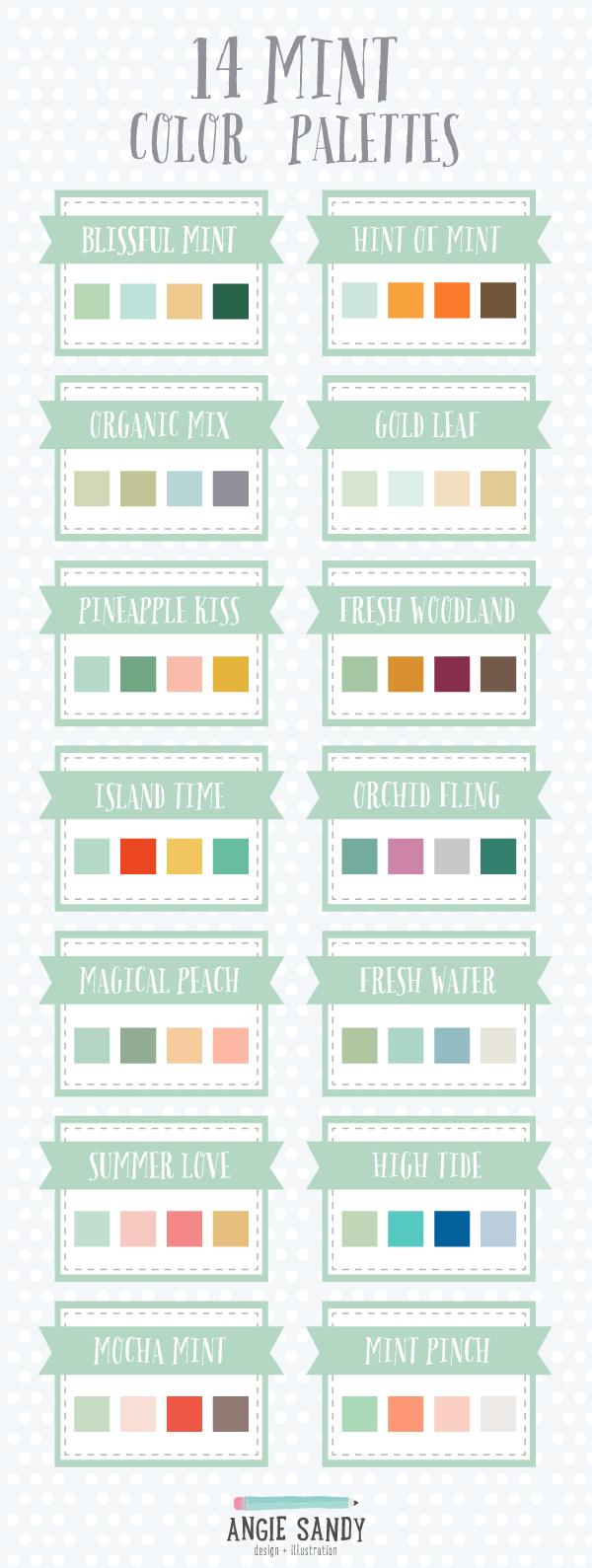 14 Mint Color Palettes Angie Sandy Art Licensing Design
