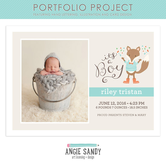 Fox Birth Announcement #angiesandy #illustration #portfolioproject