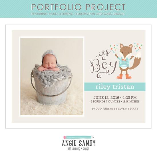 Fox Birth Announcement #angiesandy #illustration #portfolioproject