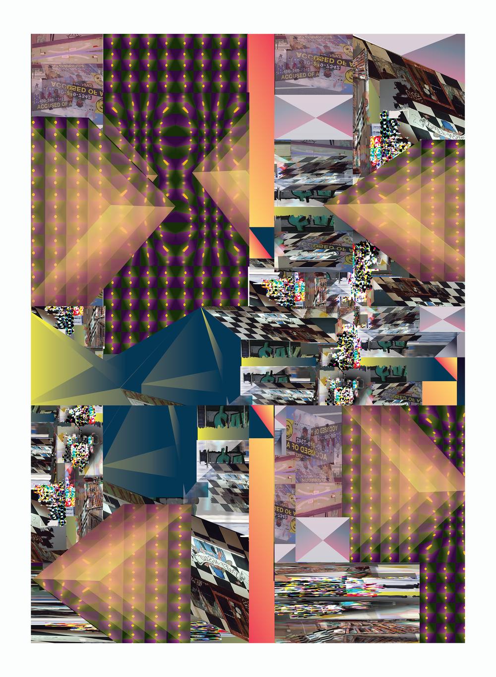 "Overhead Confusion Script Seeding the Sky   2019, Inkjet Print  22"" x30"" x1.5"""