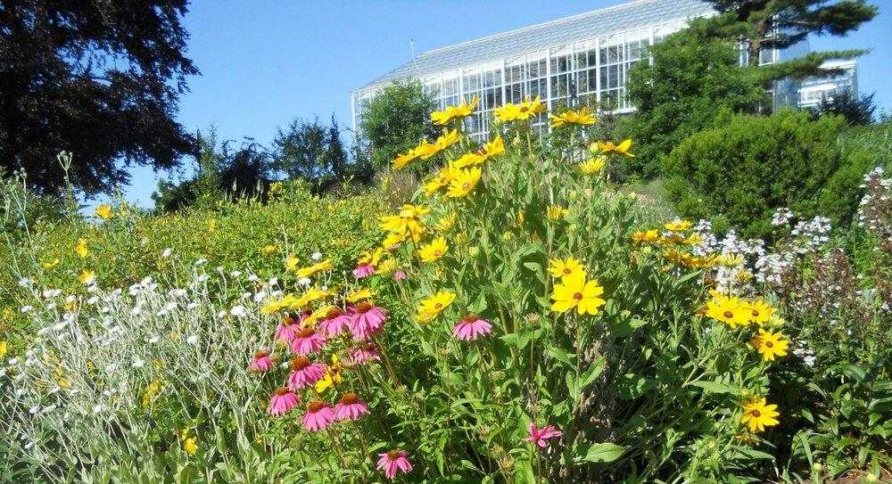 Outdoor view of the Botanical Center Conservatory at Roger Williams Park