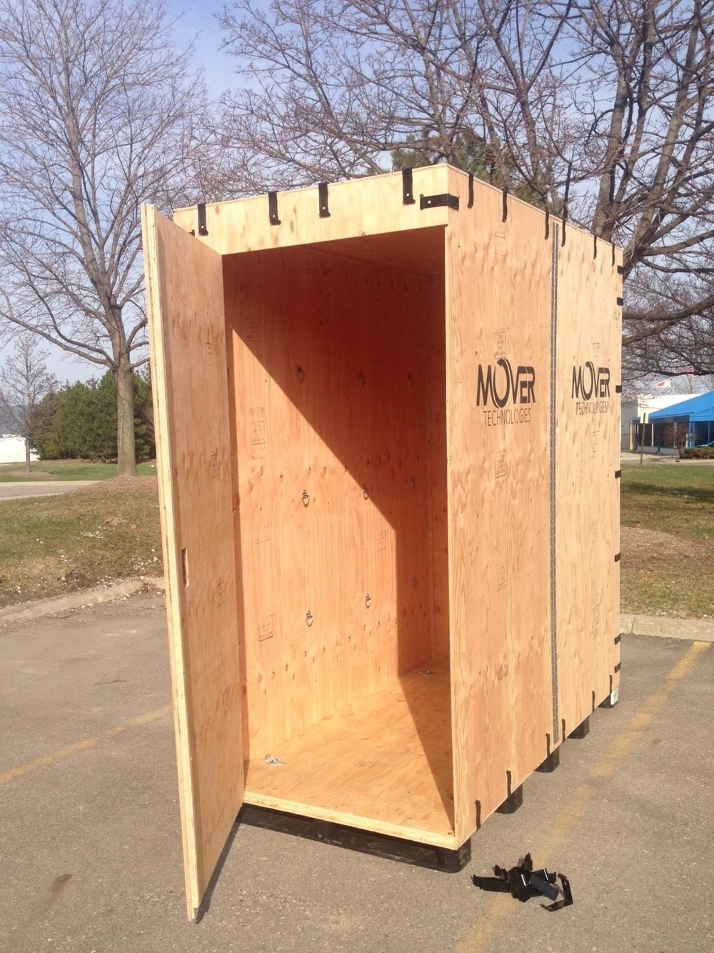 The portable storage container has a built-in door for easy loading!