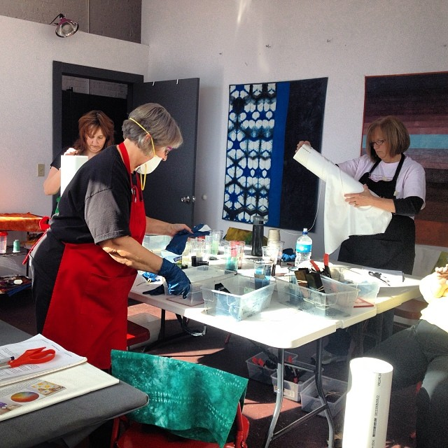 The shibori workshop was so fun today thanks to great students and my mom as assistant! (at Kansas City Textile Studio)