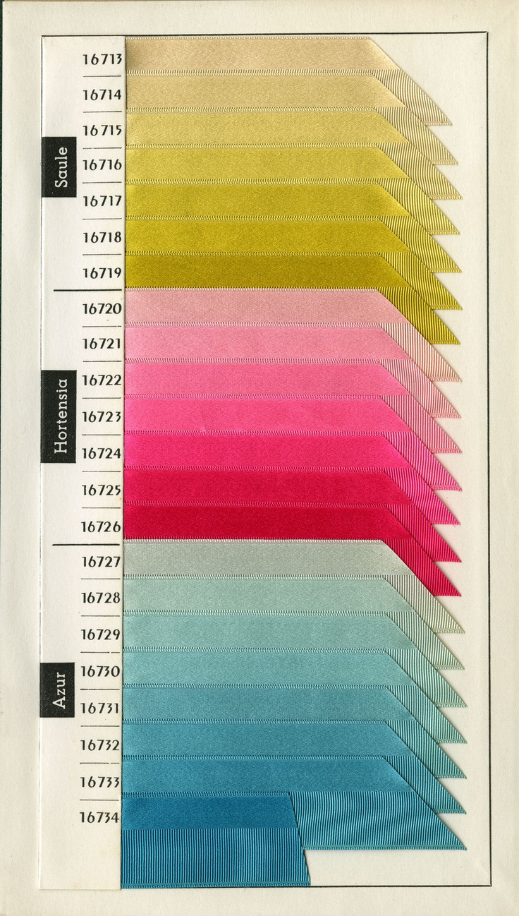 satsumastreet: Federation of Silk. Color Card for Spring/Summer 1970. Lyon, France. - via The Design Center