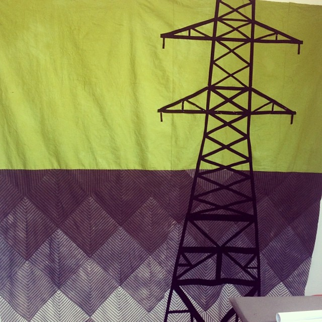 Working on another big #quilt. This one has #hand-dyed ticking and appliquéd #powerlines