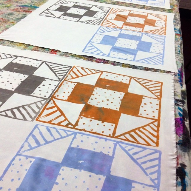 Screen printing some cheater quilts for quilting practice in my Quilting 101 workshop tomorrow night! #screenprint #quilt #cheaterquilt