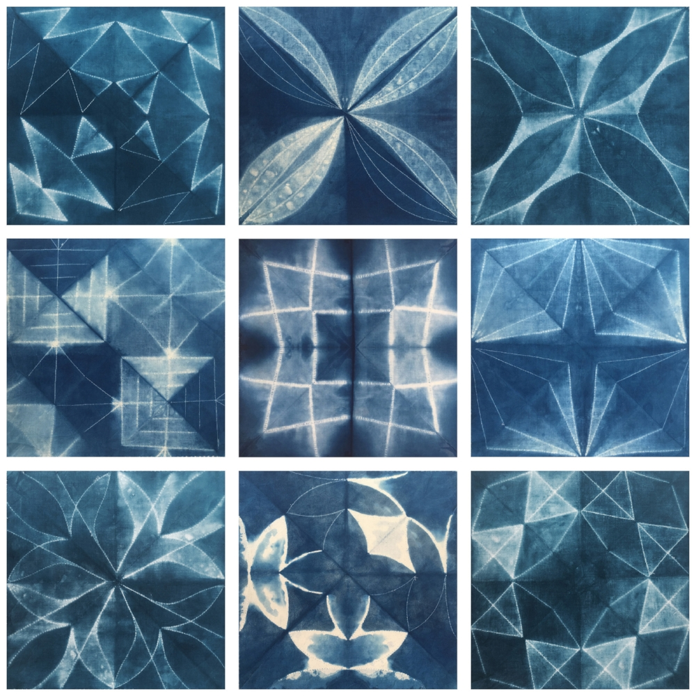 machine sewn indigo shibori samples