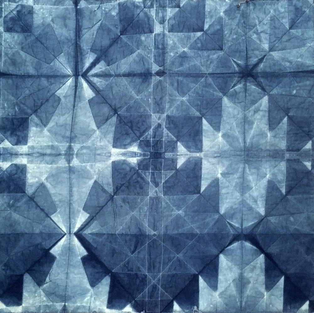 Whole cloth, machine sewn shibori, dyed with indigo, 2017.