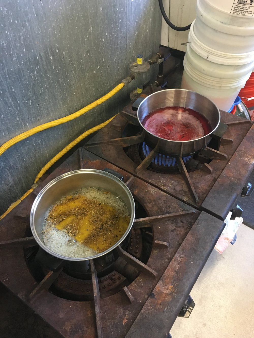 weld and madder on the stove