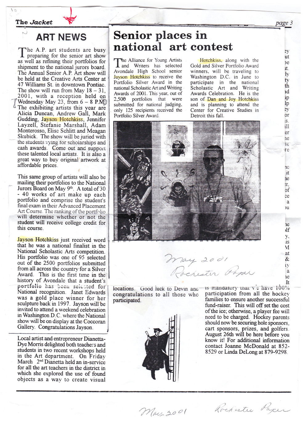 ...an old article my grandmother sent me of an art achievement i received during my senior year...