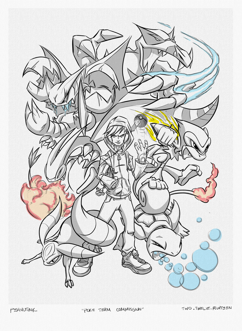 ...weekly ink # 6, pokemon team commission sketch...
