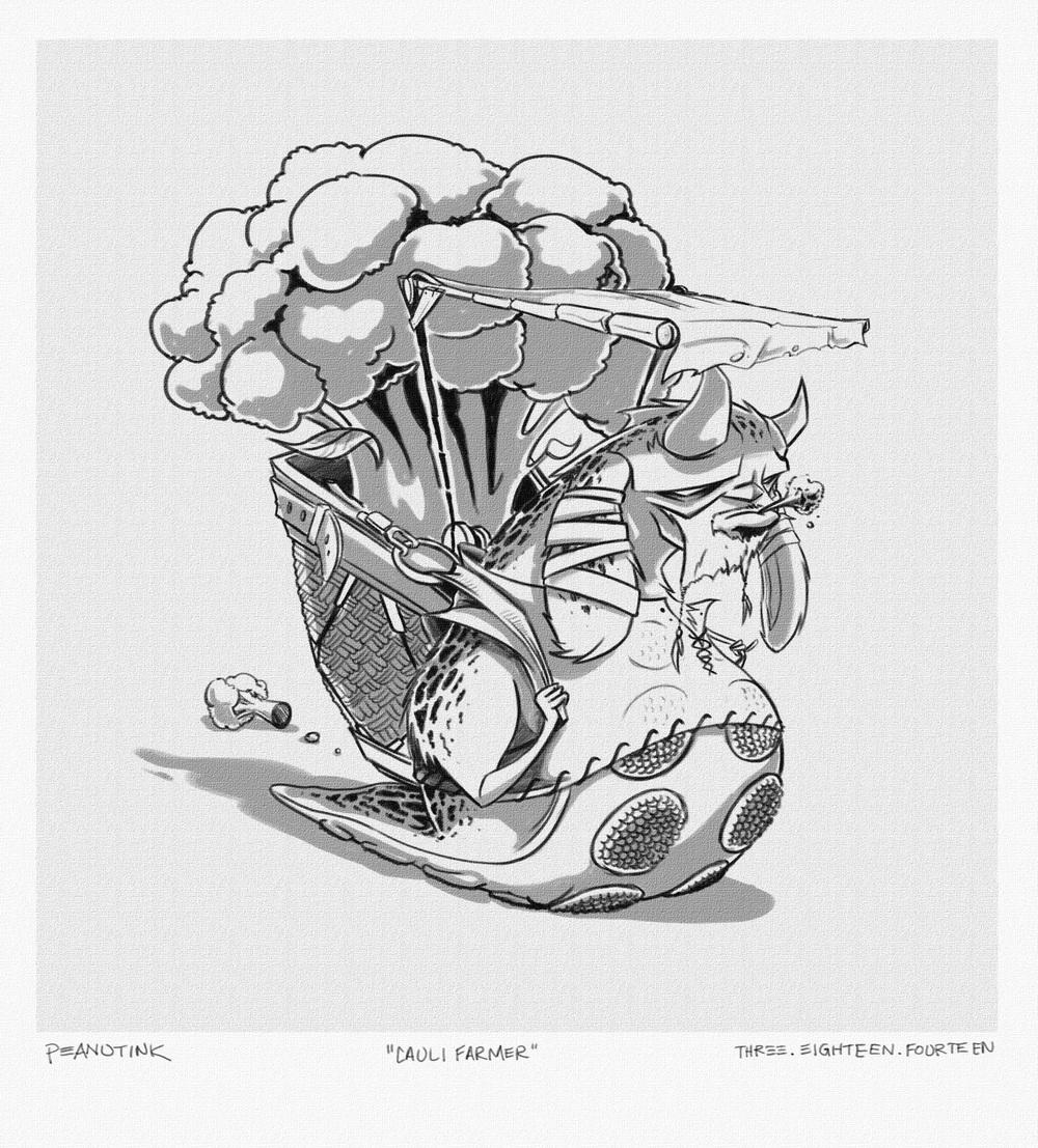"""...weekly sketch #10 - """"cauli farmer""""..."""