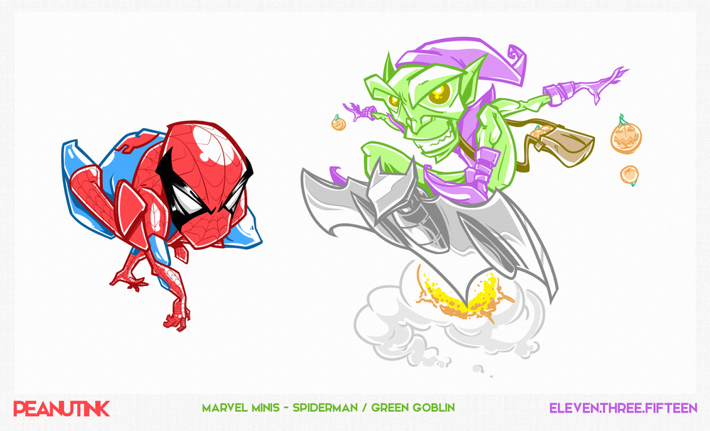 "...weekly ink #98 - ""marvel minis - spiderman / green goblin""..."