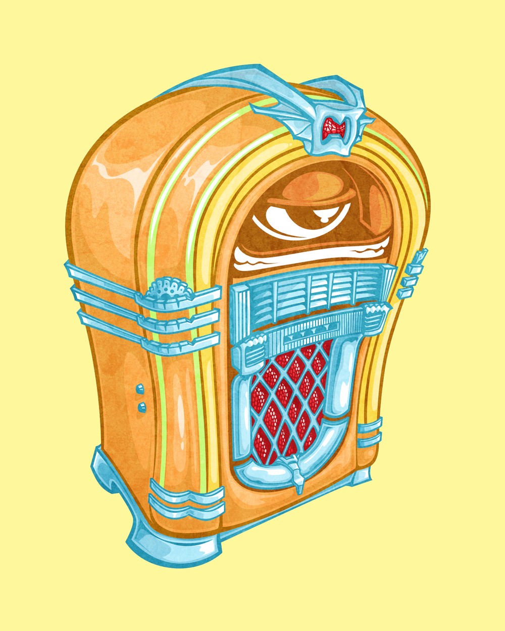 ...stereo sound jukebox character...