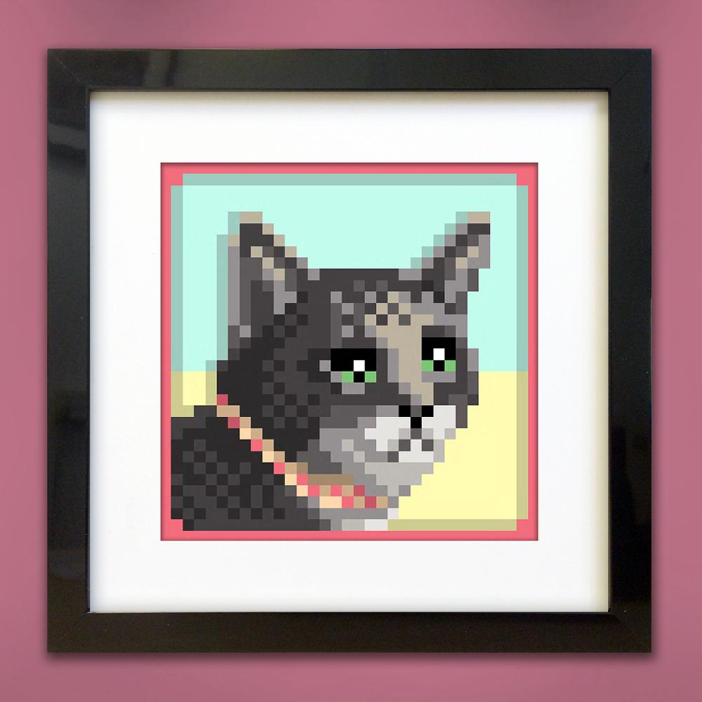 pixel pet portrait - Peenie