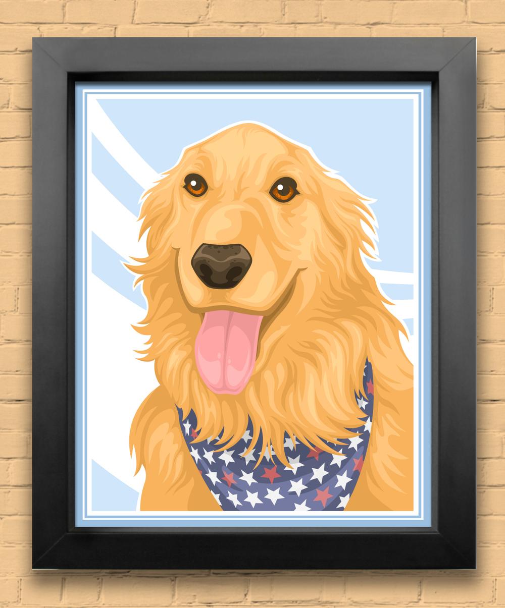 stylized pet portrait - Osgood