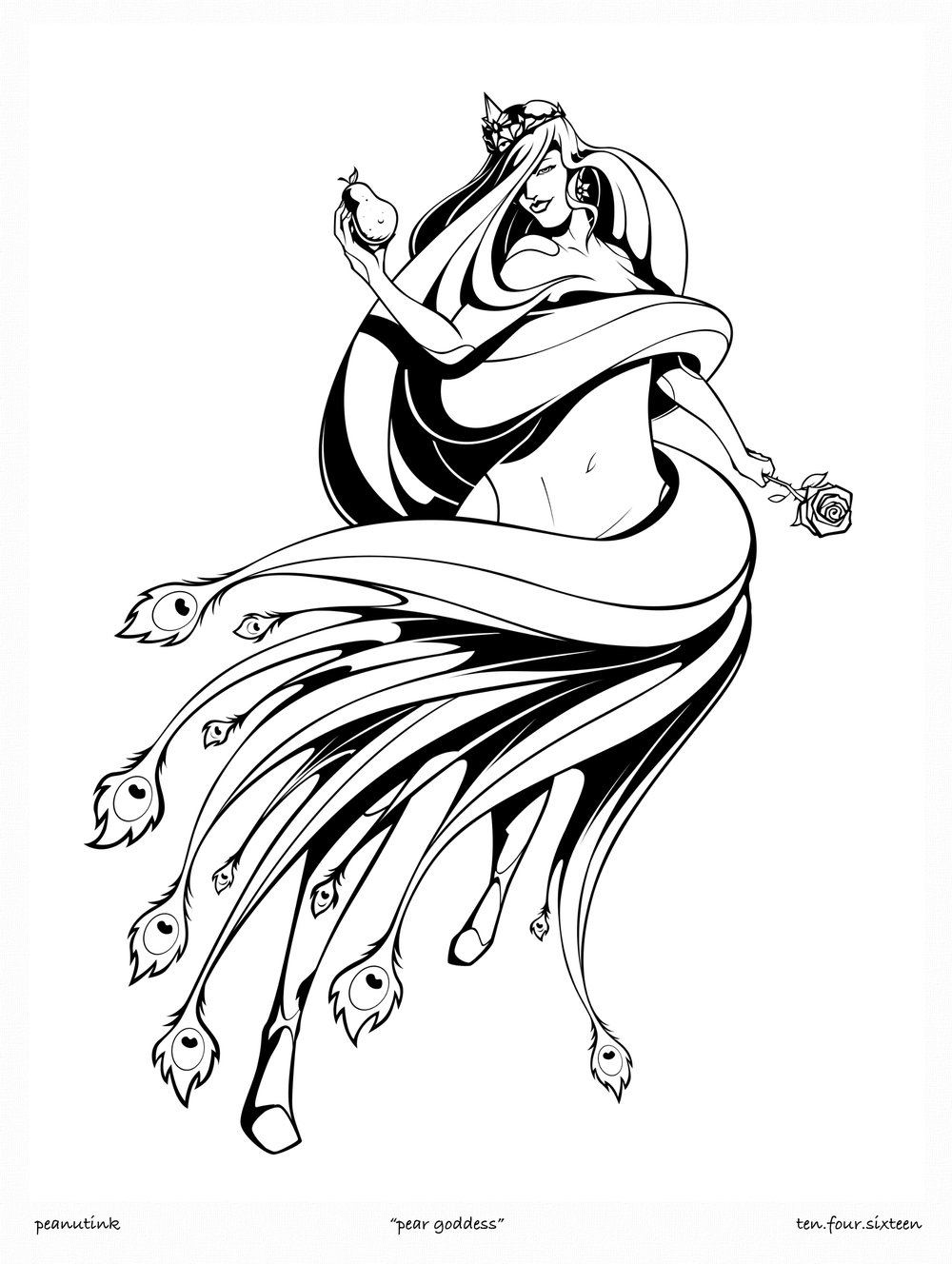 "..weekly ink #140 - ""pear goddess"".."