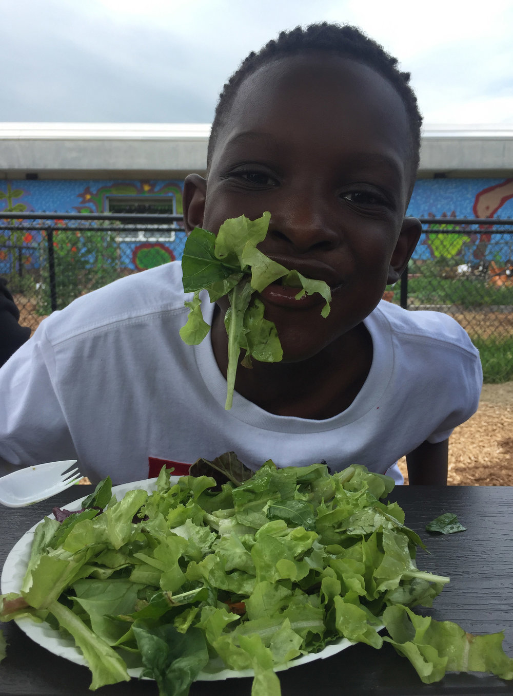 Salad crazy! - This student at Temple Hill Academy in Newburgh gleefully ate up all the salad leftovers - He just couldn't get enough of the great greens!