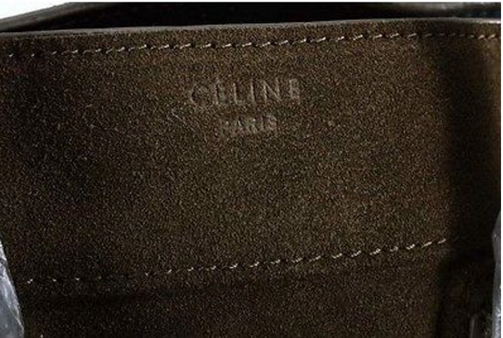 "the fake Celine bag has no accent mark above ""E"""
