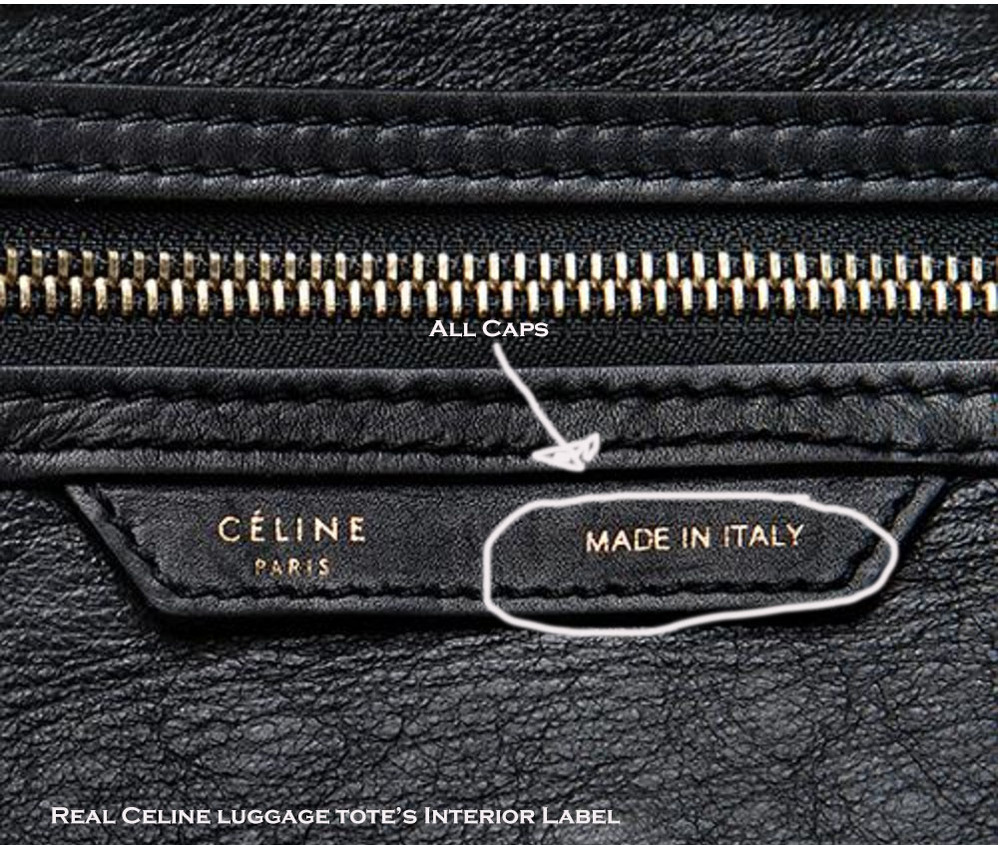 Authentic Celine interior label for luggage totes