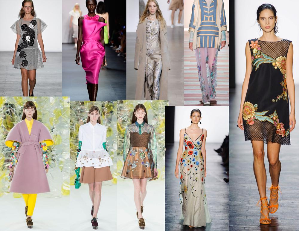 Clockwise from the top: Vivienne Tam, Angel Sanches, Calvin Klein, Baja East, Dennis Basso, Dennis Basso, Delpozo, Delpozo, Delpozo