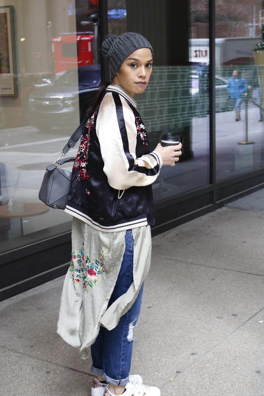 Pants: Justfab,hat: Armani Exchange, shoes: Adidas, silk dress: Zara, Jacket: and Zara ;and ,purse: Loewe