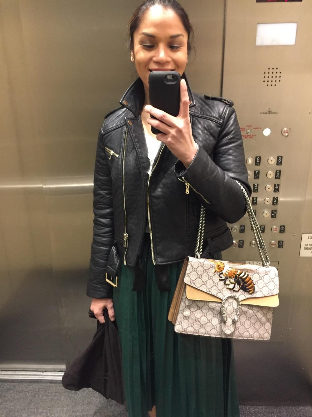 Jacket: Fcuk, Skirt: Gucci , bag:gucci