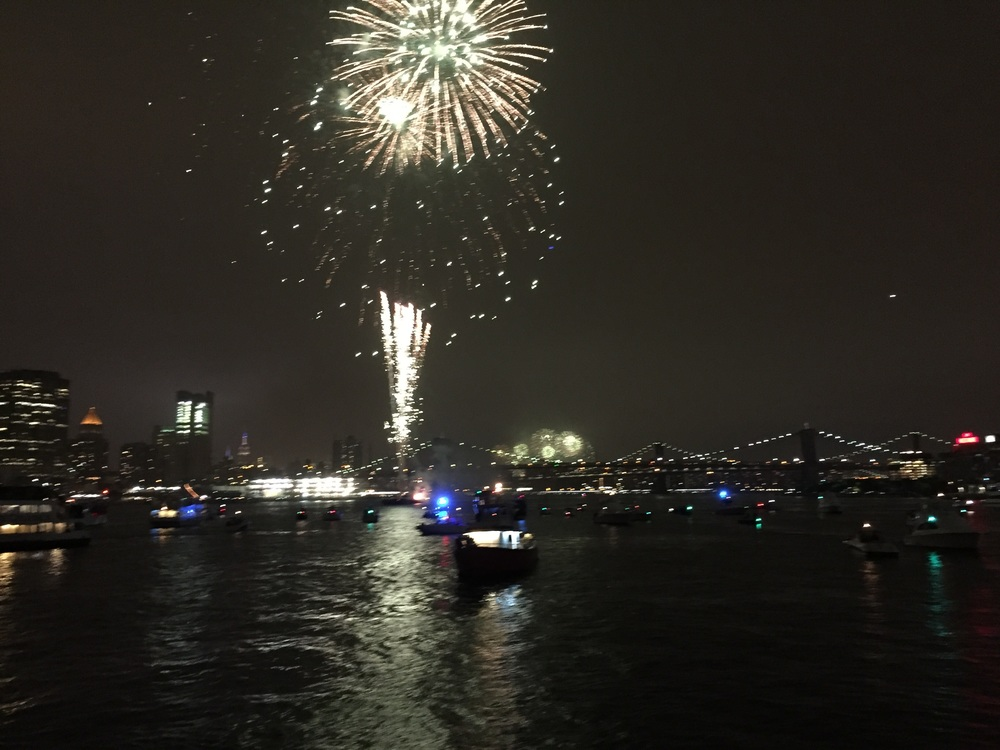 Sycheonized fireworks along the Hudson River