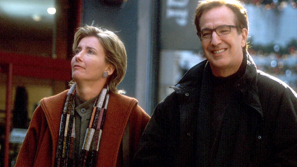"Scene from ""Love Actually"",  Karen (Emma Thompson) and Harry (Alan Rickman)  are married for 12 years. Harry is losing interest in his wife and is flirting it up with his secretary."