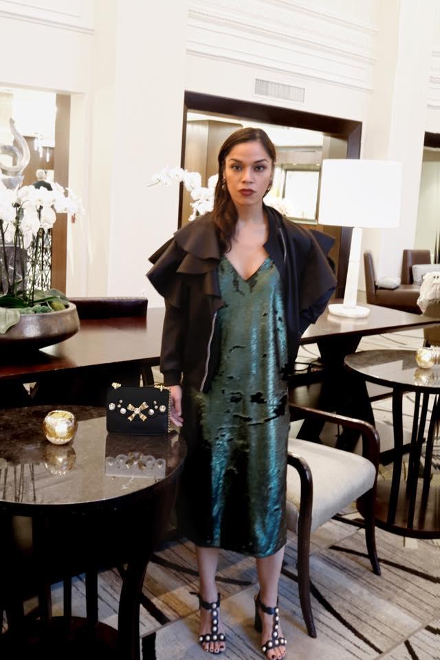 Dress (vintage), Ruffle bomber by Yohji Yamamoto, shoes by Gucci