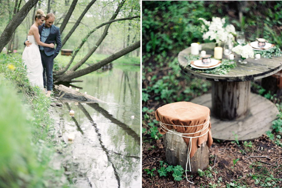 river wedding, organic forest wedding