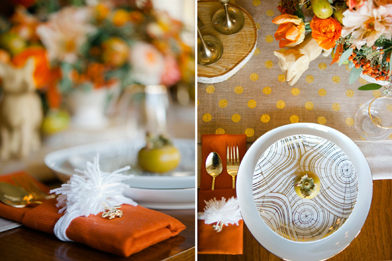 yarn tassle napkin DIY, studio fleurette, orange wedding.jpg