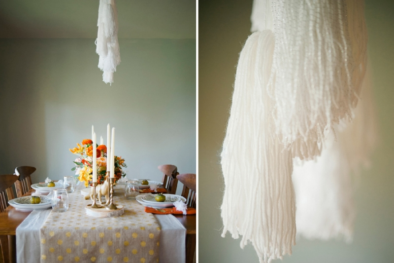 yarn chandelier DIY, studio fleurette, polk dot burlap runner.jpg