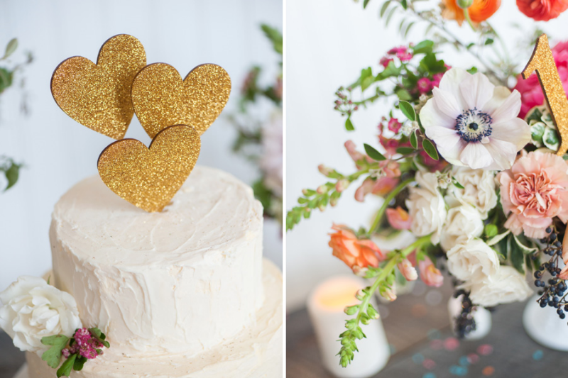 gold cake topper, studio fleurette, minneapolis wedding