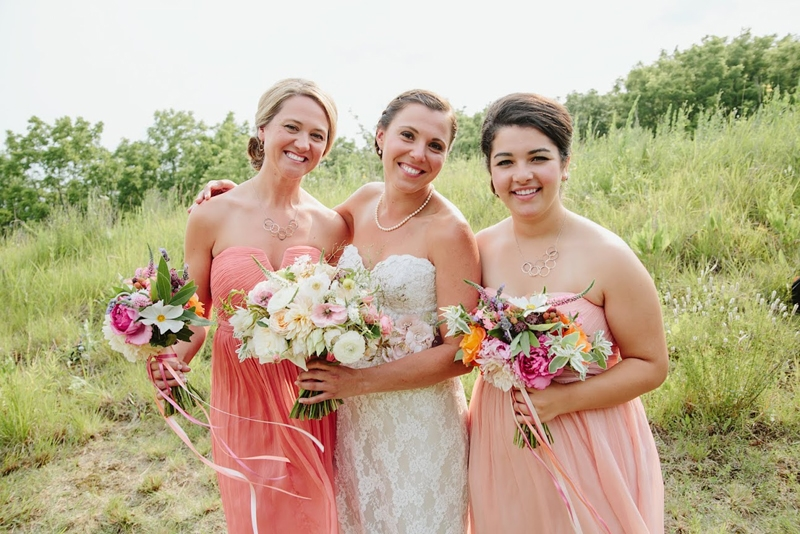 peach bridesmaid dress, coral bridesmaid dress, studio fleurette, whimsical wedding flowers.jpg