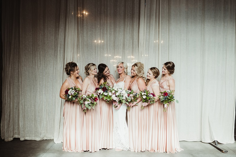 blush peach bridesmaid dresses, studio fleurette, wildflower bouquets, aria minneapolis, blush burgundy wedding flowers.jpg