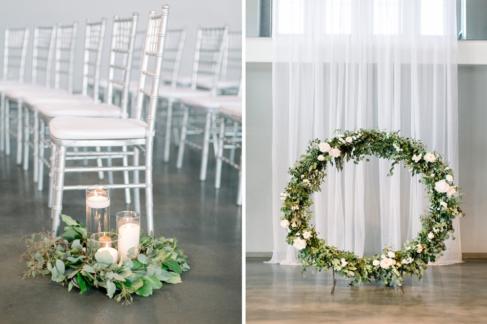 muse event center, studio fleurette, floral wreath backdrop
