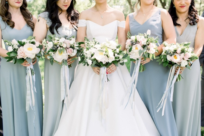 french blue bridesmaid dress, pink and blue wedding flowers, studio fleurette, peony wedding flowers, minneapolis mn florist.jpg