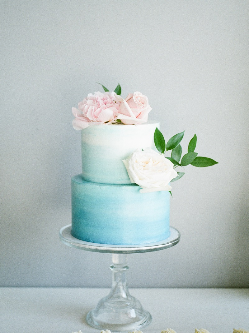 blue watercolor wedding cake, pink wedding cake flowers, studio fleurette, muse event center wedding.jpg