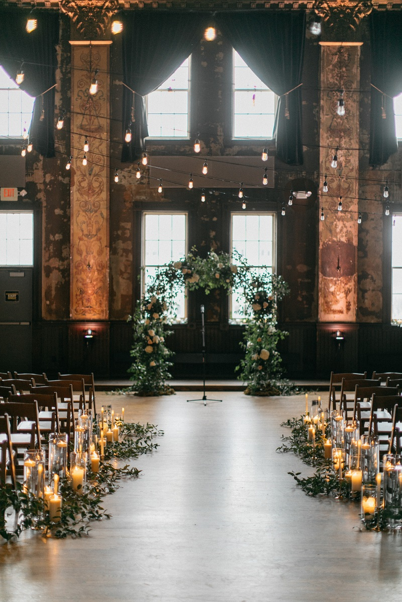 turner hall ballroom wedding, milwaukee wi wedding florist, studio fleurette, wild smilax arch, urban wisconsin wedding.jpg