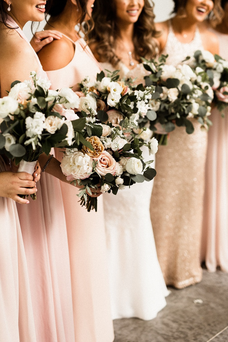 rose gold bridesmaid dresses, blush bridesmaid bouquets, studio fleurette minneapolis florist